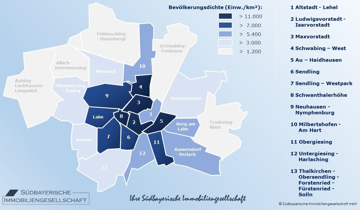 Karte München Stadtteile.Bevölkerungsdichte München Stadtteile Südbayerische Immobilien