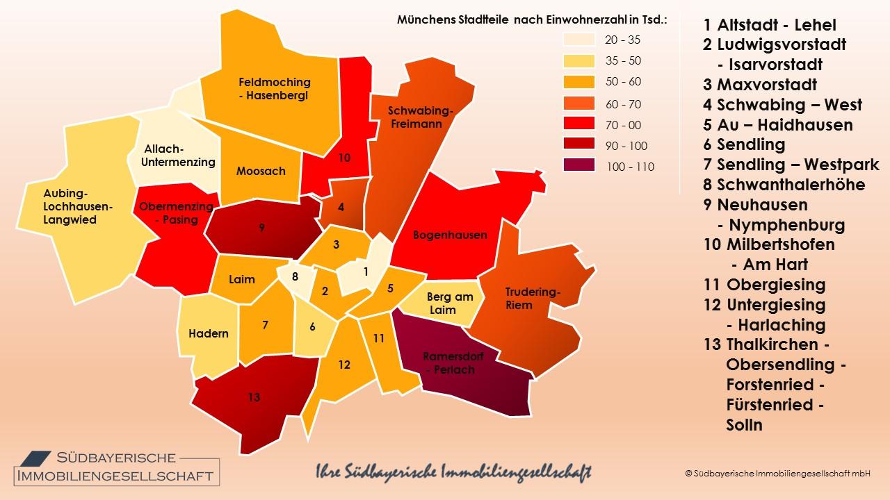 Karte München Stadtteile.Einwohner Stadtteile München Einwohnerzahl Südbayerische Immobilien