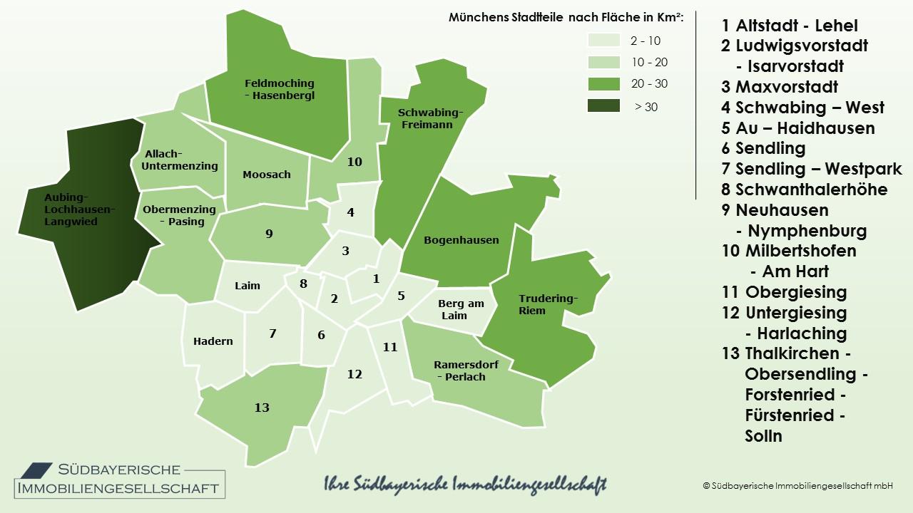 fläche münchen stadtteile - südbayerische immobilien