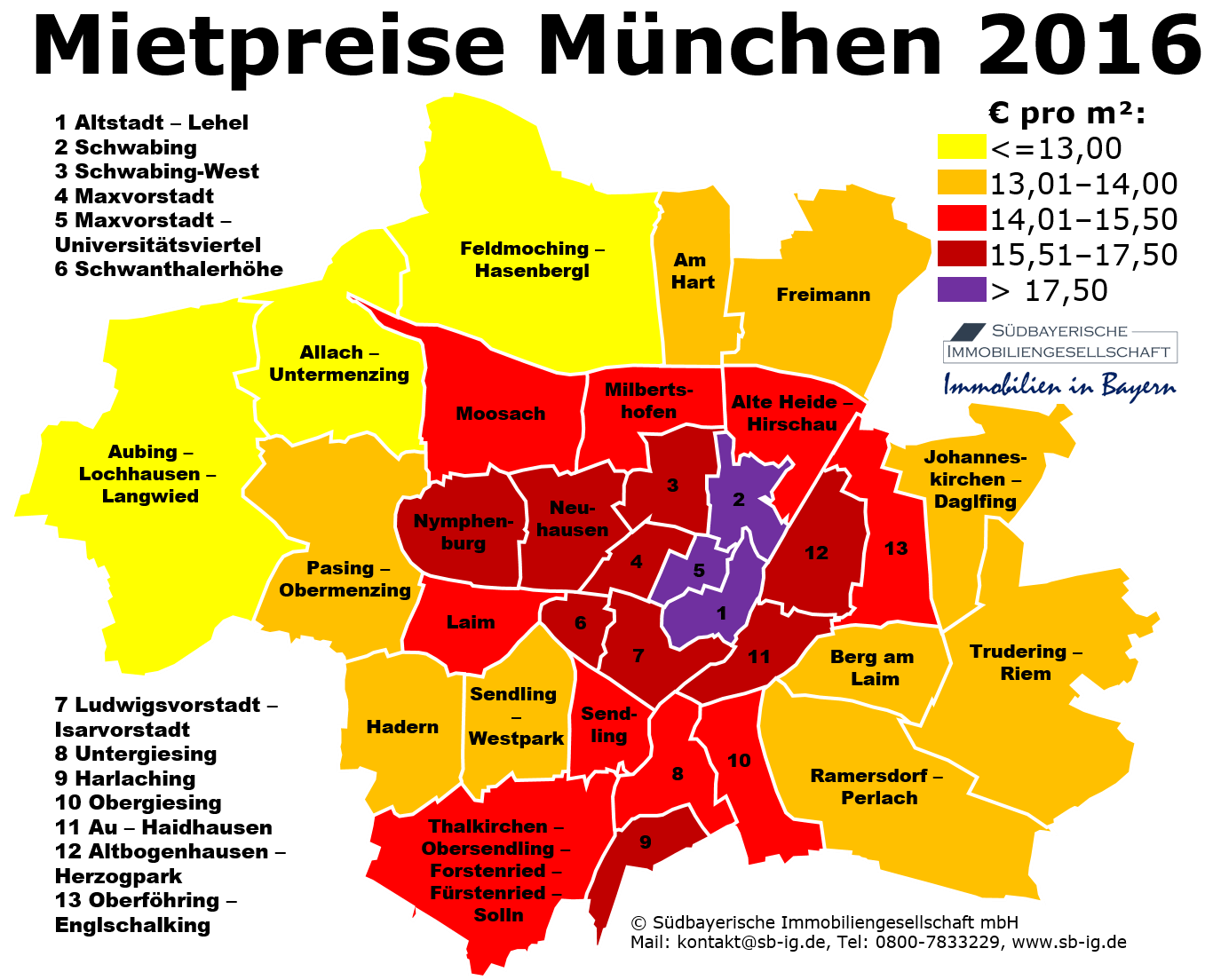 Karte München Stadtteile.Mietpreise Mietspiegel München Stadtteile Karte