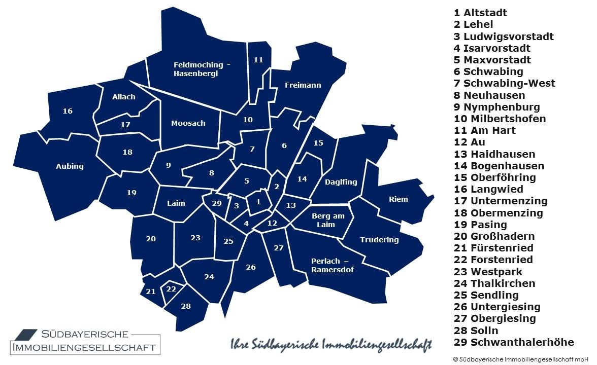 münchen stadtteile karte Stadtteile München   Südbayerische Immobilien   Makler