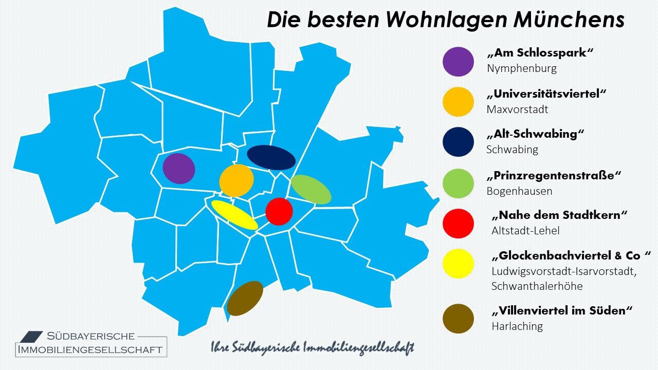 Karte München Stadtteile.Beste Wohnlagen Münchens Wohngegenden München